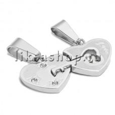 Кулон для влюбленных KL057.3.B Сердце с ключиком
